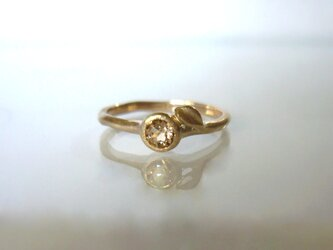 インペリアルトパーズとリーフのK10の指輪の画像
