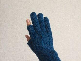 【受注制作】メンズスマホ対応手袋メリノウール100%青色の画像