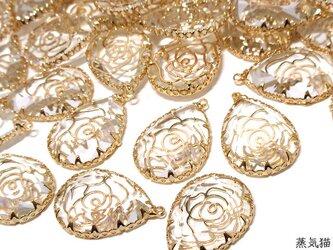透かし薔薇 しずくガラスチャーム ゴールド 4個【雫 花柄パーツ ピアス イヤリング ハンドメイド素材】の画像