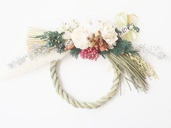 ボタニカルなバラと木の実のしめ縄飾り(ナチュラル)お正月飾り しめ縄リース ドライフラワーの画像