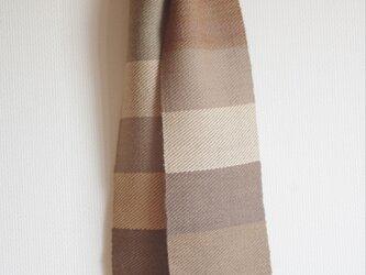 草木染しましま・手織りウールミニマフラー No.4(胡桃・桜・梅・アカメガシワetc)の画像