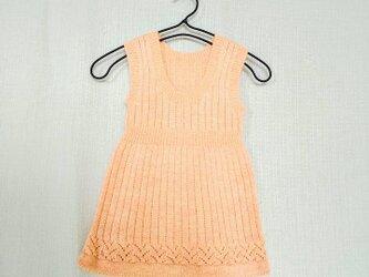 昭和レトロ 機会編み 子供用ジャンバースカート ピンクの画像