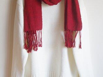 手織り太糸シルクのマフラー 赤(わけあり 2割引き)の画像