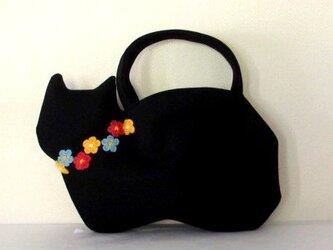 【冬の新作】お花モチーフ ウールの黒猫バッグBの画像