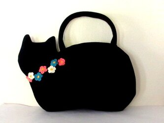 【冬の新作】お花モチーフ ウールの黒猫バッグCの画像