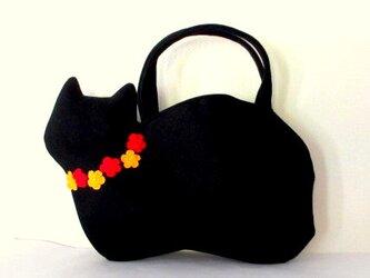 【冬の新作】お花モチーフ ウールの黒猫バッグDの画像
