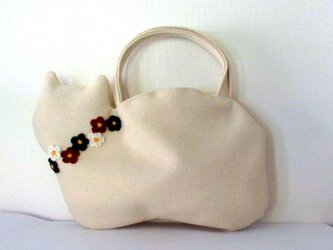 【冬の新作】お花モチーフ ウールの白猫バッグAの画像