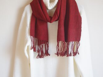 手織り太糸シルクのマフラー 赤茶 の画像