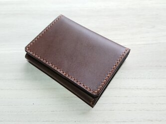 *受注生産* 小ぶりな財布(家計のやりくり1週間) 栃木レザー/ピアノレザー 焦茶の画像