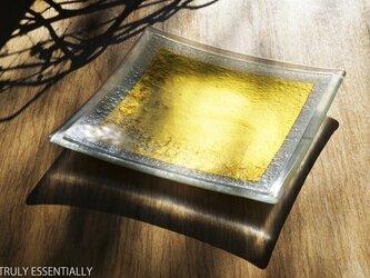 ガラスの角皿 -「 金色のガラス 」● 約21cm角の画像