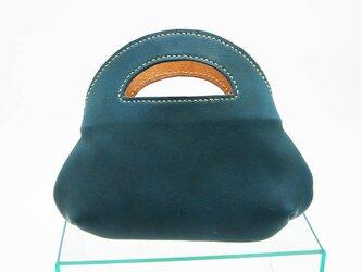 青緑色のちびトートバッグの画像