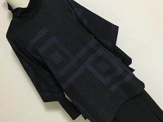1123    着物リメイク 七分袖チュニック  十日町紬 升模様の画像