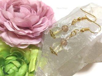 ルチルクォーツ 天然石 ピアス イヤリング 水晶 4月誕生石 ☆ ダイナデザイン ☆ ゴールド カラーの画像