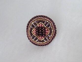 紫の万華鏡 ビーズ刺繍ブローチの画像