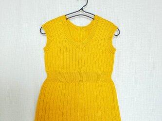 昭和レトロ 機会編み 子供用ジャンバースカート やまぶきの画像