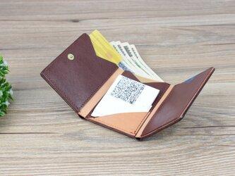 本革 キャッシュレス時代のコンパクト薄型財布 ☆Red☆の画像