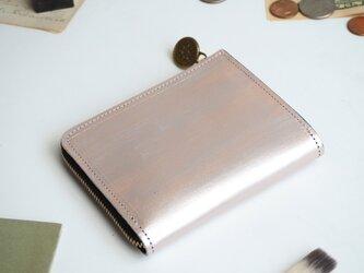 L字ファスナー財布(ペイント シルバー) 本革 コンパクト レディース メンズ ILL-1157の画像