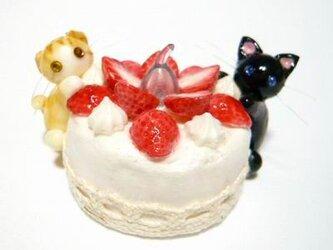 にゃんこのしっぽ○いちごのキャンドルケーキ○スイーツデコ○猫1の画像