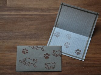 ミニ封筒&Card/猫さん(グレー)の画像