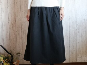 新作! 予約販売 黒の暖かコットンウール シンプルなロング丈スカート M~2L,3L~5L プチオーダー可☆の画像