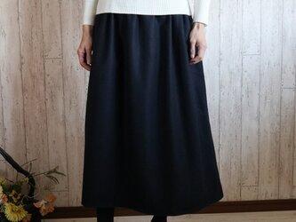 新作! 予約販売 紺 暖かいウールソフトモッサ シンプルなロング丈スカート M~2L,3L~5L プチオーダー可☆の画像