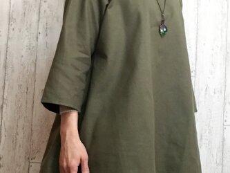 新作 暖かコットンウールのテントライントップス グリーン M~5L 予約販売 プチオーダー可の画像