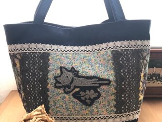 PJC刺繍 帆布deパッチワークトートバッグの画像