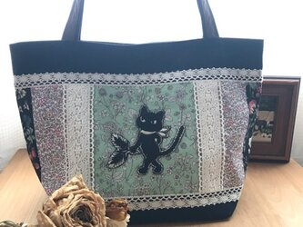 クリスマスセール PJC刺繍 帆布deパッチワークトートバッグの画像