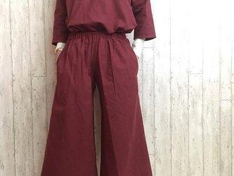 【福袋・送料無料】暖かコットンウールのトップス&パンツ セットアップ ワインレッド M~5L 予約販売 の画像