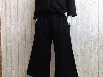 【福袋・送料無料】暖かコットンウールのトップス&パンツ セットアップ 黒 M~5L 予約販売 の画像