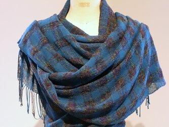 手織り 濃い青緑の広巾ショールの画像