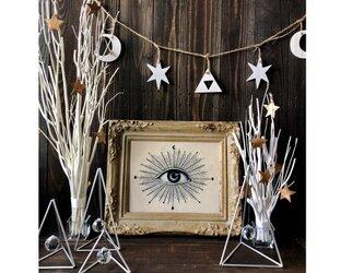 ウッドガーランド 小サイズ ホワイト★トップのデザインが選べます 月クロス 目 スター 三角 クリスマスオーナメントディスプレイの画像