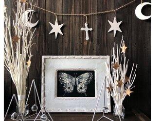 ウッドガーランド 大サイズ ホワイト★トップのデザインが選べます 月クロス 目 スター 三角 クリスマスオーナメントディスプレイの画像