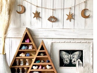ウッドガーランド 小サイズ ブラウン★トップのデザインが選べます 月クロス 目 スター 三角 クリスマスオーナメントディスプレイの画像