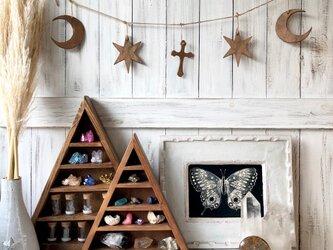ウッドガーランド 大サイズ ブラウン★トップのデザインが選べます 月クロス 目 スター 三角 クリスマスオーナメントディスプレイの画像