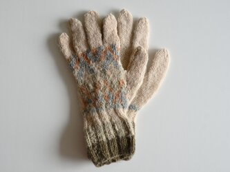 1点限定!ナロモル ハンドメイド 草木染手袋 クリームベージュの画像
