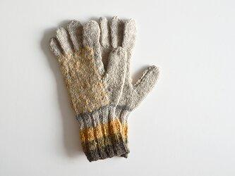 1点限定! ナロモル ハンドメイド 草木染手袋 マスタードグレーの画像