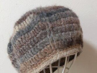ふわふわモヘアのまぁるいニット帽の画像