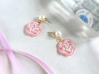 【桜霞】水引製 お花とパールのピアス ピンクの画像