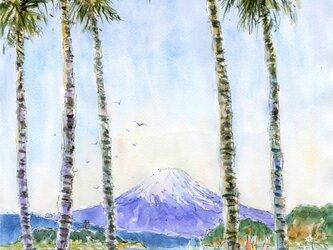 注文制作します 水彩画原画 逗子マリーナからの富士山(#405)の画像