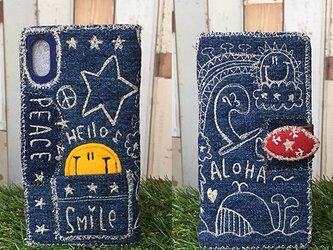 デニム刺繍スマホケース【iPhonePlus,Android(要確認)用】の画像