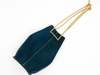 牛革の巾着バッグ 青緑の画像