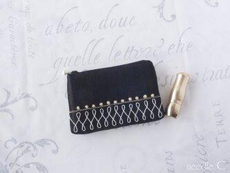 フランス生地 プチフラットポーチ 模様刺繍 ミニポーチ リップケース の画像