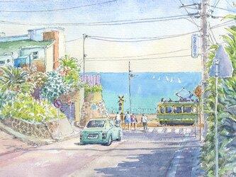 注文制作します 水彩画原画 江ノ電・鎌倉高校前駅踏切18(#367)の画像