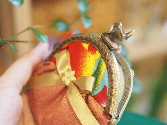 ★台湾花布★小鳥のガマ口100%手縫い小銭入れ【受注製作】の画像