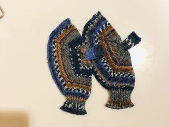 №206 手編みミトン送料込 風花の画像