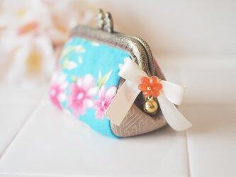 ★台湾花布★梅の花ガマ口100%手縫いポーチ【受注製作】の画像
