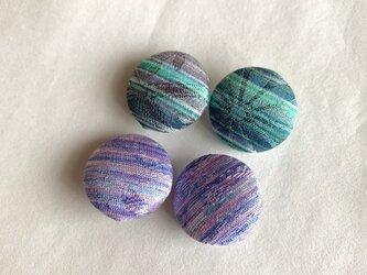 絹くるみボタン4個(18mm 紫系・緑系)の画像