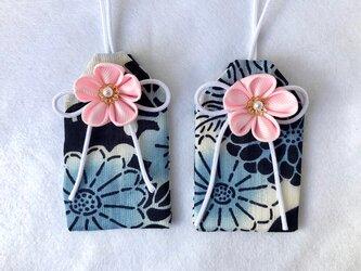 元巫女の花のお守り袋(花紺)の画像