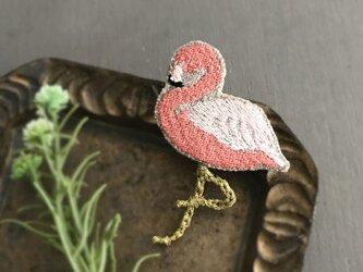 フラミンゴ刺繍ブローチ【受注制作】の画像